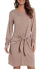 R. Rouge Women's Beige Tie Front Long Sleeve Dress