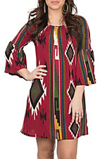 R. Rouge Women's Burgundy Aztec Dress