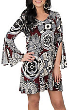 R. Rouge Women's Red, Grey, White and Black Long Bell Sleeve Dress