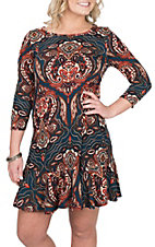 R. Rouge Women's Navy and Orange Paisley Print Dress