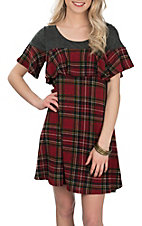 R. Rouge Women's Charcoal & Red Plaid Ruffle S/S Dress