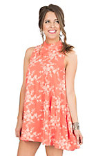 Peach Love CA Women's Coral with Cream Embroidery Sleeveless Dress