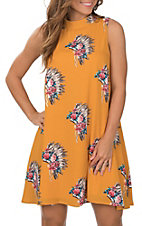 Peach Love Women's Mustard Floral Headdress Print Sleeveless Dress