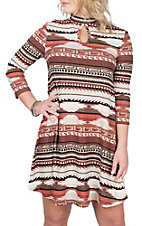 R. Rouge Women's Rust Aztec Print L/S Dress