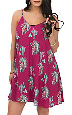 Peach Love Women's Pink Cactus Headdress Print Dress