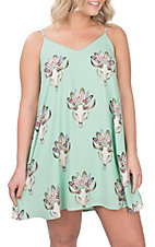 Peach Love Women's Mint Feather Skull Print Dress