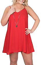 Peach Love Women's Red Spaghetti Strap Dress