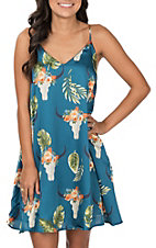 Berry N Cream Women's Teal Palm Skull Dress