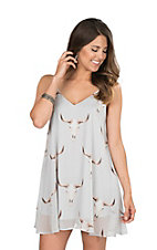 Peach Love Women's Light Grey Skull Print Dress