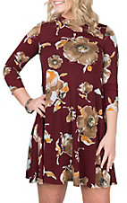 R. Rouge Women's Burgundy Floral Print 3/4 Sleeve Dress