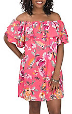 Peach Love Women's Pink Floral Off the Shoulder Dress