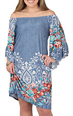 R. Rouge Women's Denim and Floral Print Dress