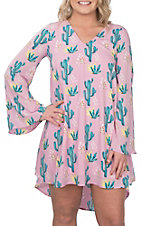 Peach Love Women's Pink Cactus Print Bell Sleeve Dress