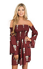 Fantastic Fawn Women's Burgundy Skull Print Off the Shoulder Dress