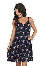 Fantastic Fawn Women's Navy Americana Skull Print Dress