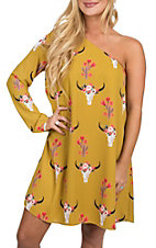 Berry N Cream Women's Mustard Skull Print One Shoulder Dress