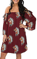 Berry N Cream Women's Burgundy Headdress Off the Shoulder Dress