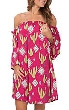 Peach Love Women's Fuchsia and Green Cactus Tribal Print Off The Shoulder Dress
