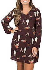 Berry N Cream Women's Wine Skull Teepee Dress