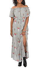 Peach Love Women's Grey Aztec Floral Skull Print Short Sleeve Maxi Dress