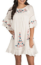 Berry N Cream White with Floral Embroidery Short Ruffle Sleeve Dress