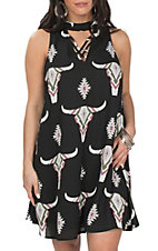 Peach Love Women's Black Steer Skull and Tribal Print Dress