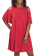 R. Rouge Women's Red Cold Shoulder Dress