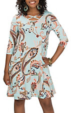 R.Rouge Women's Mint Paisley Dress