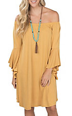 R. Rouge Women's Solid Mustard Bell Sleeve Dress