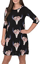 R. Rouge Women's Black Skull Print Dress