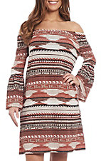 R. Rouge Women's Rust and Cream Aztec Dress