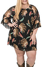 R. Rouge Women's Black Headdress Feather Print 3/4 Sleeves Chiffon Dress - Plus Size