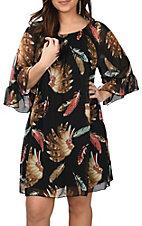 R. Rouge Women's Black Headdress Feather Print 3/4 Sleeves Chiffon Dress