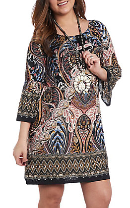 R. Rouge Women's Mauve and Black Paisley Print Dress