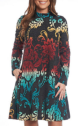 R. Rouge Women's Multicolored Damask Mock Print Long Sleeve Dress