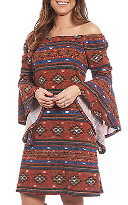 R. Rouge Women's Bell Sleeve Aztec Dress