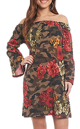R. Rouge Women's Camo Rose Print Dress