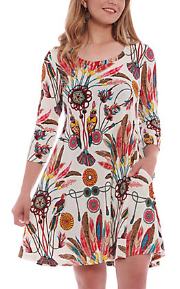 R. Rouge Women's White Multi Print Feather 3/4 Sleeve Dress
