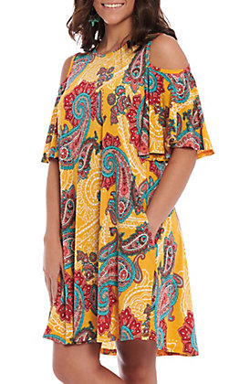 R. Rouge Women's Mustard Multi Paisley Cold Shoulder Dress