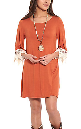 R. Rouge Women's Rust with Lace Trim 3/4 Sleeves Knit Dress