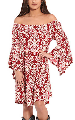 R. Rouge Women's Maroon and Cream Paisley 3/4 Bell Sleeves Dress