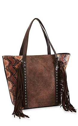 Angel Ranch Brown and Python with Fringe Concealed Carry Tote