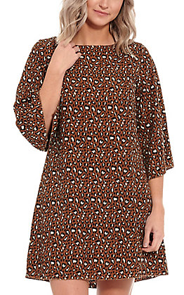 R. Rouge Women's Brown Leopard Print Dress
