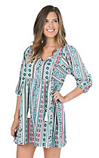 Rock & Roll Cowgirl Women's Turquoise Aztec Print 3/4 Sleeve A-Line Dress
