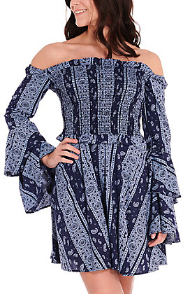 Rock & Roll Cowgirl Navy with Blue Paisley Smocked Long Bell Sleeves Dress