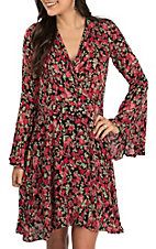 Rock & Roll Cowgirl Women's Black with Floral Printed Bell Sleeve Dress