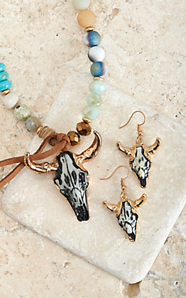 Silver Strike Multi Turquoise Bead Necklace with Cow Skull Pendant and Earring Set