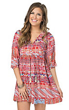 Rock & Roll Cowgirl Women's Red Multicolor Aztec Print 3/4 Sleeve Peasant Dress