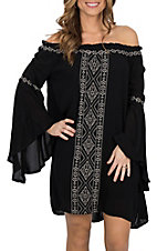 Rock & Roll Cowgirl Women's Black Off the Shoulder Bell Sleeve Dress