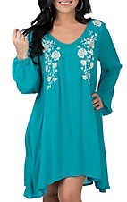 Rock & Roll Cowgirl Women's Turquoise with White Embroidery Long Sleeve Dress